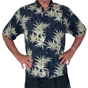 Men's black silk Hawaiian shirt tropical large